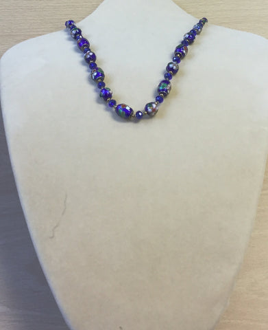 Blue Cloisonné and Crystal Necklace