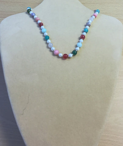 Aqua Purple Pastel Gemstones and Glass Necklace