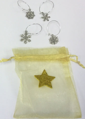 Christmas Wine Charms in Gold Bag