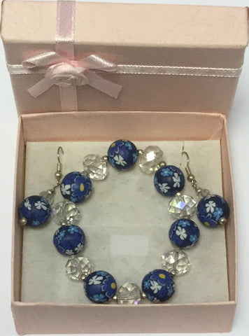 Azure Bead Glass Flower Bracelet Earrings