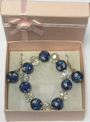 Azure Bead Glass Flower Bracelet Earrings (D71)
