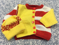 Knitted Yellow And Red Cardigan & Hat set