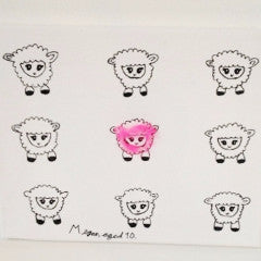 Sheep Canvas Black Pink