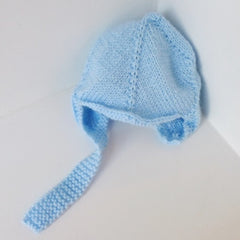 Blue Knitted Babies Hat with Fastener for 3-6 months