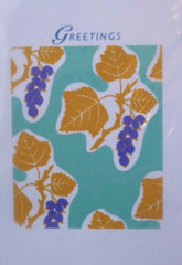 Card Greetings Blank Aqua Grapes