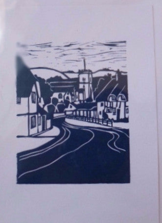 'Dorset Village' Greetings Card