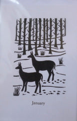 Card Greeting Month January Deer