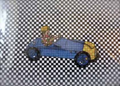 Checkerboard Racecar Greeting Card