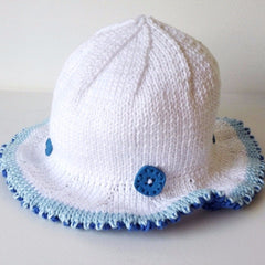 Hat Cotton Baby Blue Duo White