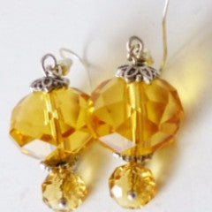 Earrings Glass Amber Hook Fasten