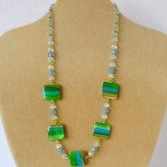 Green Shell Crystal Necklace