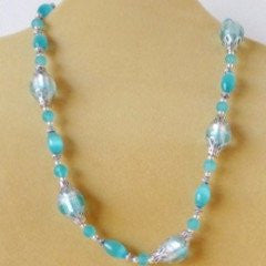 Turquoise Mexican Opal Glass Tibetan Silver Necklace