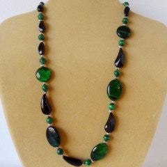 Green Tigers Eye Malachite Glass Necklace