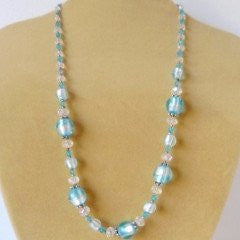 Turquoise Gray Italian Glass Crystal Necklace
