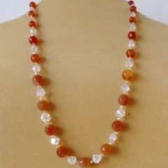 Orange Carnelian Crystal Topaz Necklace