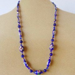 Blue Cloisonné Glass Crystal Necklace (D657)