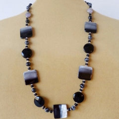 Grey Black Shell Necklace