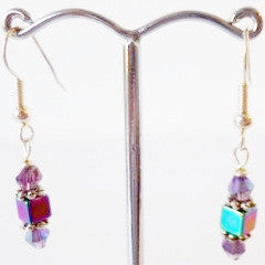 Purple Cube Silver Plate Earrings