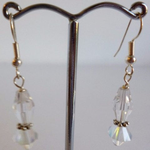 Clear Glass Bipyramid Silver Plate Earrings