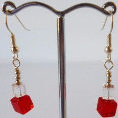 Red Cube Silver Plate Earrings