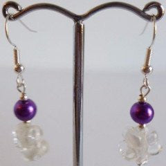Purple Sphere Silver Plate Earrings