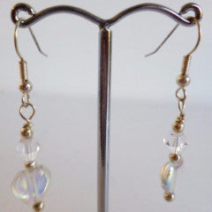 Clear Glass Heart Silver Plate Earrings