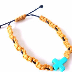 Brown and Blue Cross Bracelet