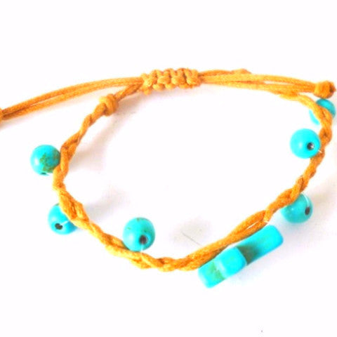 Blue Bobble Cross Bracelet