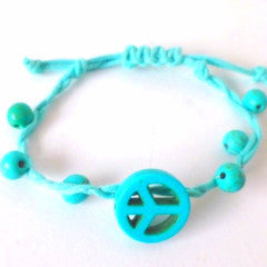 Blue Bobble Peace Bracelet