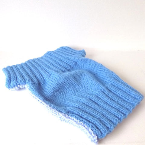 Knitted Blue Tabard & Hat