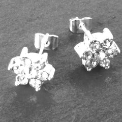 Silver Diamante Flower Earrings