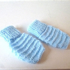Blue Knitted Baby Mittens