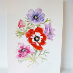 Anemone Watercolour Painting