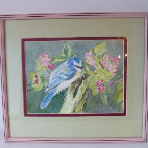'Blue Tit Amongst Apple Blossom' Watercolour Painting