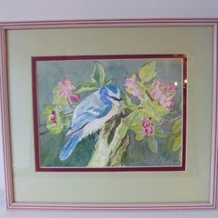 Watercolour Blue Tit Amongst Apple Blossom