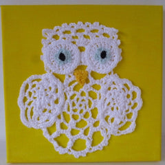 Crocheted Canvas Owl and Sunflower
