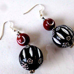 Earrings Bead Red Black Hook Fasten