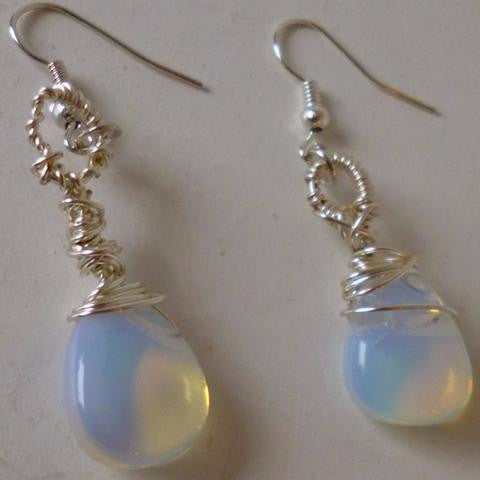 Opalite Silver Plated Earrings