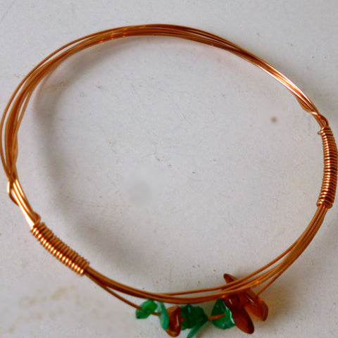 Green and Amber on Copper Bracelet