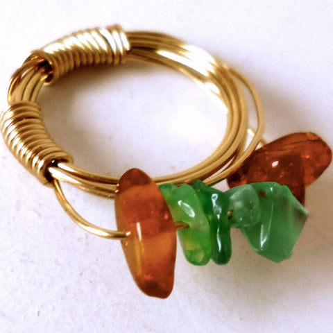 Green and Amber on Brass Ring