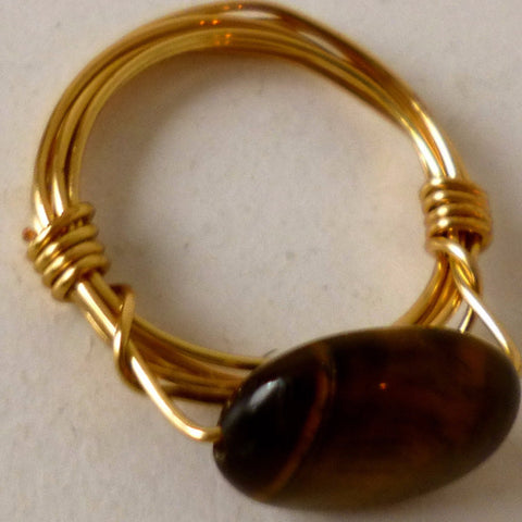 Tiger Eye on Brass Ring