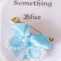 Brooch Ribbon Blue Bow