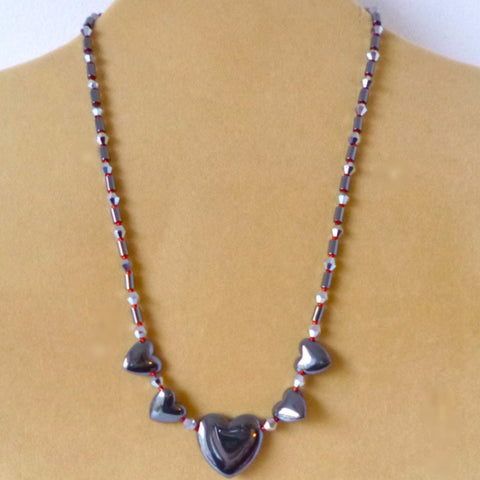 Hematite Heart Red Crystal Necklace