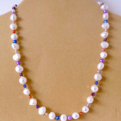 White Blue Freshwater Pearl Necklace