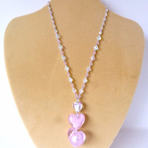 Pink White Glass Crystal 3D Heart Necklace