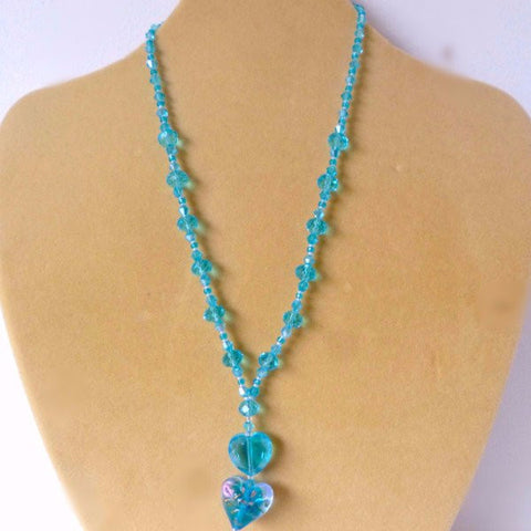 Turquoise Foiled Glass Crystal 3D Heart Necklace