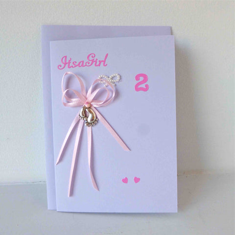 Girl Twin Congratulation Cards