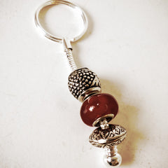 Keyring Bead Red Flower Pattern