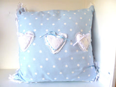Cushion Blue Dot White Heart