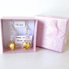 Amber Glass Rose Quartz Heart Earrings